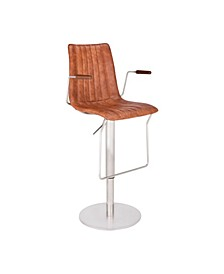 Andorra Modern Adjustable Barstool in Brushed Stainless Steel with Faux Leather and Walnut Arms