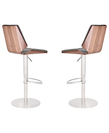 Dylan Modern Adjustable Barstool in Brushed Stainless Steel with  Faux Leather and Walnut Back - Set of 2