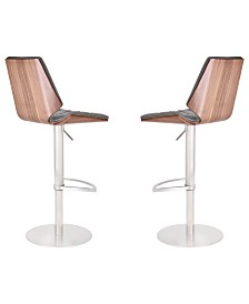 Today's Mentality Dylan Modern Adjustable Barstool in Brushed Stainless Steel with  Faux Leather and Walnut Back - Set of 2