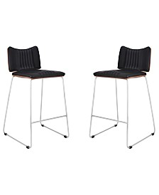 """Today's Mentality Malta Modern 26"""" Counter Height Bar Stool in Brushed Stainless Steel with Faux Leather and Walnut Back - Set of 2"""