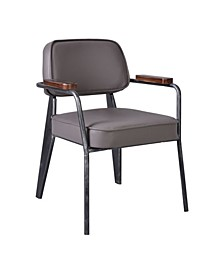 Paul Contemporary Metal Dining Chair in Brushed with Faux Leather Seat and Back