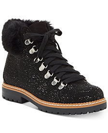 INC Women's Pravale Lace-Up Lug Sole Hiker Bling Booties, Created for Macy's