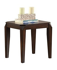 Wooden End Table with Beveled Tapered Legs