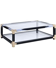 Metal Coffee Table with Glass Top and Shelf