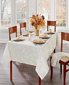 "Elegant Woven Leaves Jacquard Damask Tablecloth, 60""x84"" Oval"