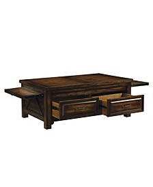 Transitional Style Wooden Coffee Table with Drawers