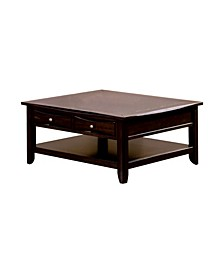 Wooden Square Coffee Table with Drawers