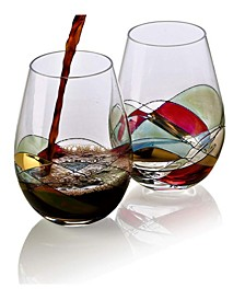 Set of 2 Hand Painted Stemless Wine Glasses