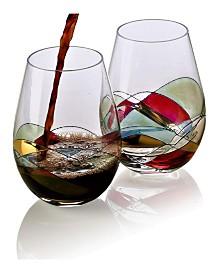 Bezrat Set of 2 Hand Painted Stemless Wine Glasses