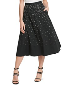 DKNY Cotton Printed A-Line Midi Skirt