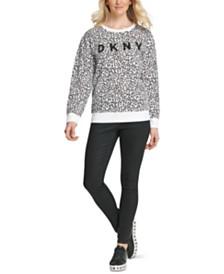 DKNY Leopard-Print Logo Sweatshirt