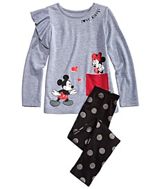 Little Girls 2-Pc. Mickey & Minnie Top & Printed Leggings Set
