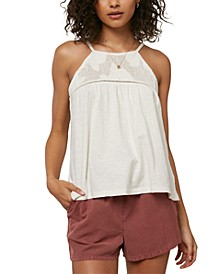 Juniors' Cotton Embroidered Tank Top