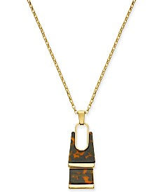 "Alfani Gold-Tone Tortoise-Look Rectangle Pendant Necklace, 34"" + 2"" extender, Created For Macy's"