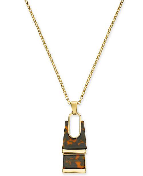 Alfani Gold Tone Tortoise Look Rectangle Pendant Necklace 34 2