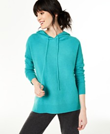 Charter Club Cashmere Thermal Hoodie Sweater, Created for Macy's