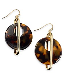 Gold-Tone & Tortoise-Look Circle Drop Earrings, Created For Macy's
