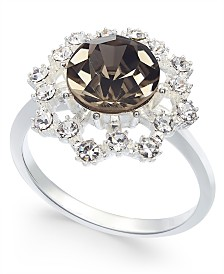 Charter Club Silver-Tone Crystal & Stone Burst Halo Ring, Created For Macy's