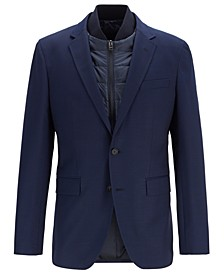 BOSS Men's Hadik Slim-Fit Virgin Wool Blazer With Detachable Vest