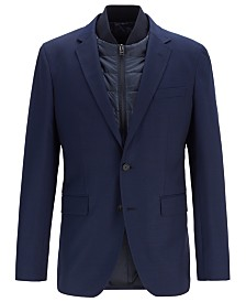 BOSS Men's Hadik Slim-Fit Virgin Wool Jacket With Detachable Vest