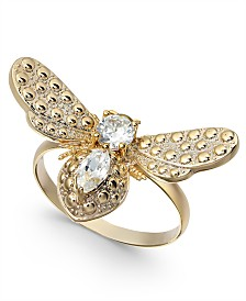 Charter Club Gold-Tone Crystal Bumblebee Ring, Created For Macy's
