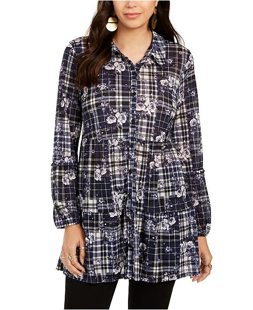 Style & Co Printed Button-Down Tunic Shirt, Created for Macy's