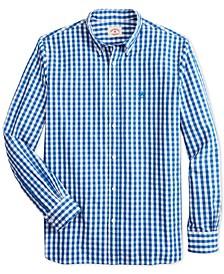 Men's Red Fleece Slim-Fit Gingham Check Shirt