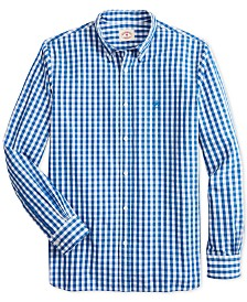 Brooks Brothers Men's Red Fleece Slim-Fit Gingham Check Shirt