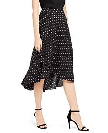 Dot-Print Asymmetric-Hem Skirt