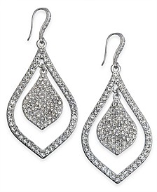 INC Silver-Tone Crystal Pavé Double Teardrop Drop Earrings, Created For Macy's
