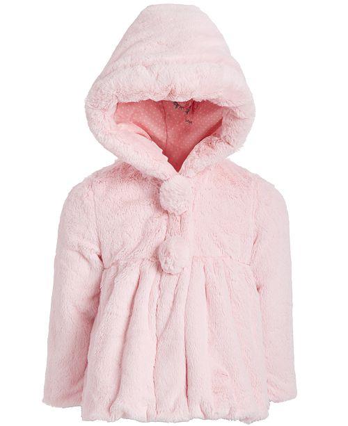 S Rothschild & CO Little Girls Hooded Teddy Plush Faux-Fur Jacket