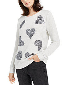 INC Sequin-Heart Sweatshirt, Created for Macy's