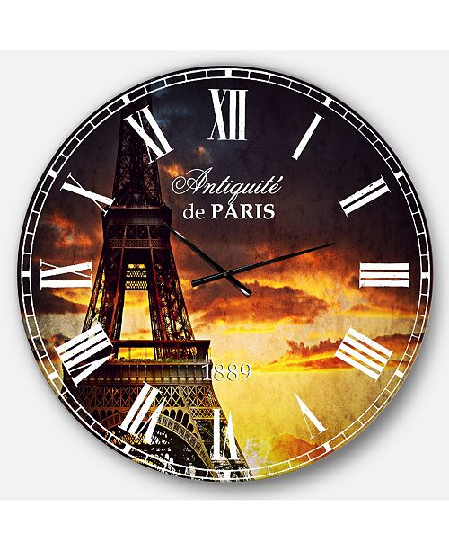 Designart Cityscapes Oversized Round Metal Wall Clock