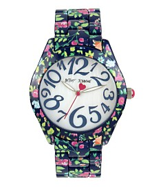 Betsey Johnson Floral Printed Navy Case & Bracelet Watch 40mm
