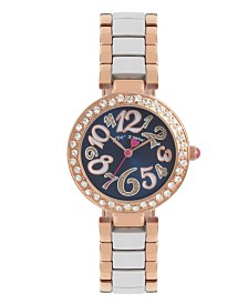 Betsey Johnson Blue Dial & Two Tone Bracelet Watch 32.5mm