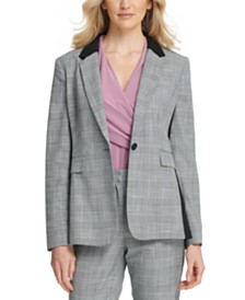 DKNY Petite Plaid Single-Button Blazer