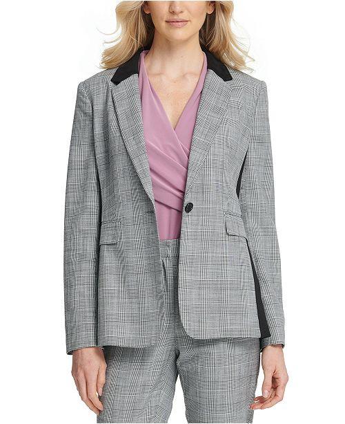 DKNY Petite Plaid Single-Button Blazer