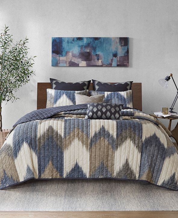 INK+IVY Alpine King/Cal King 3 Piece Printed Cotton Coverlet Set