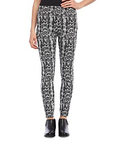 Snake Printed Pull-On Pants