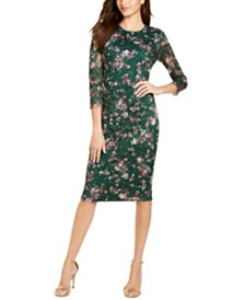 kensie Printed Lace Midi Bodycon Dress