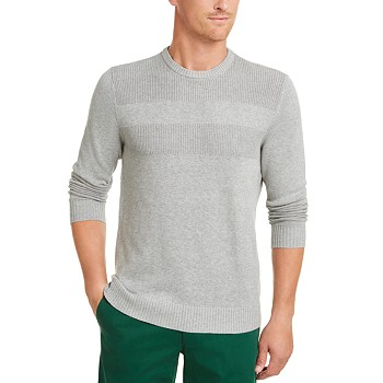 Club Room Men's Cotton Solid Textured Crew Neck Sweater