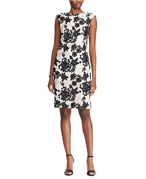 Lauren Ralph Lauren Two-Tone Floral-Lace Dress