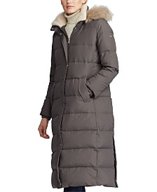Lauren Ralph Lauren Faux-Fur-Trim Hooded Down Coat