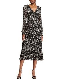 Floral-Print Long-Sleeve Georgette Dress
