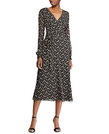 Lauren Ralph Lauren Floral-Print Long-Sleeve Georgette Dress