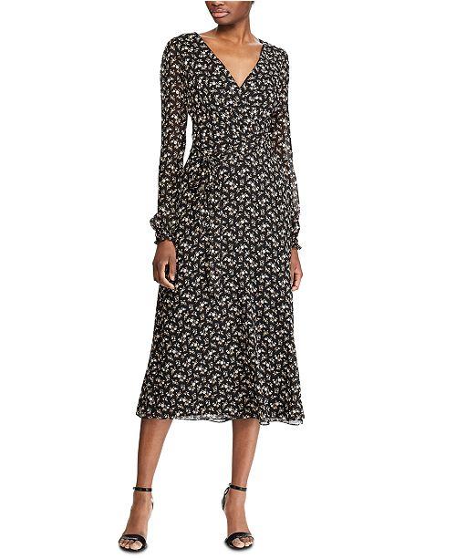 Lauren Ralph Lauren Floral-Print Long-Sleeve Georgette Dress