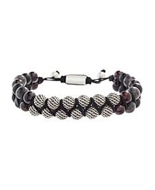 Men's Textured Ball, Labradorite and Garnet Beaded Bracelet