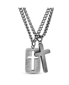 Steve Madden Men's Cross and Open Cross Dogtag Duo Necklace Set in Stainless Steel