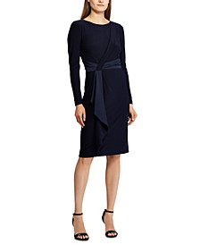 Long-Sleeve Satin-Trim Jersey Dress