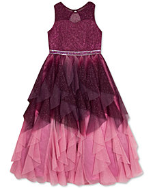 Rare Editions Big Girls Ruffled Ombré Mesh Dress